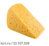 Купить «Кусочек сыра, изолированно на белом фоне», фото № 33107939, снято 7 июля 2019 г. (c) Литвяк Игорь / Фотобанк Лори