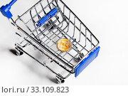 Одна монета с символом российского рубля лежит в магазинной тележке на белом фоне. Стоковое фото, фотограф Николай Винокуров / Фотобанк Лори