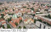 Panoramic aerial view of Udine cityscape, Italy. Стоковое видео, видеограф Яков Филимонов / Фотобанк Лори