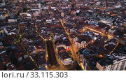Купить «Panoramic night view of illuminated downtown Valladolid, Spain», видеоролик № 33115303, снято 22 февраля 2020 г. (c) Яков Филимонов / Фотобанк Лори