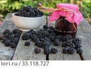 blackberry jam. Стоковое фото, фотограф Sabine Katzenberger / PantherMedia / Фотобанк Лори