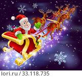 Купить «Christmas Santa Claus flying sleigh with gifts», фото № 33118735, снято 29 мая 2020 г. (c) PantherMedia / Фотобанк Лори