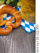 bierseidel,hops and pretzels - oktoberfest. Стоковое фото, фотограф Thomas Klee / PantherMedia / Фотобанк Лори