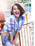 Купить «Enjoyment. Gladness. Expressive Woman in Checkered Shirt with Toothy Smile», фото № 33123367, снято 9 апреля 2020 г. (c) PantherMedia / Фотобанк Лори