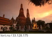 Купить «Der Wat Arun Tempel in der Stadt Bangkok in Thailand in Suedostasien.», фото № 33128175, снято 28 мая 2020 г. (c) PantherMedia / Фотобанк Лори
