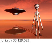 spaceship and alien in a distant world. Стоковое фото, фотограф Michael Rosskothen / PantherMedia / Фотобанк Лори