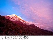 Купить «Sunset on the mighty Chimborazo Volcano. Ecuador's highest summit», фото № 33130455, снято 22 февраля 2020 г. (c) PantherMedia / Фотобанк Лори