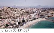 Купить «Picturesque panorama of coastal area of Spanish town of Alicante overlooking of Port», видеоролик № 33131387, снято 17 апреля 2019 г. (c) Яков Филимонов / Фотобанк Лори