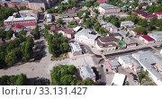Купить «View from drone of Yegoryevsk modern cityscape, Moscow Oblast, Russia», видеоролик № 33131427, снято 12 мая 2019 г. (c) Яков Филимонов / Фотобанк Лори