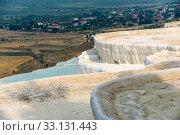 Pamukkale Travertine pool in Turkey (2019 год). Стоковое фото, фотограф Sergii Zarev / Фотобанк Лори