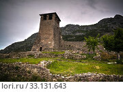Landscape with ruins of Kruje castle, Albania (2017 год). Стоковое фото, фотограф Сергей Майоров / Фотобанк Лори