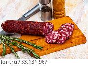 Купить «Braunschweiger sausage, traditional german sausage», фото № 33131967, снято 8 апреля 2020 г. (c) Яков Филимонов / Фотобанк Лори