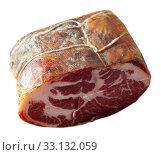 Купить «Lacon curado - Spanish national delicacy, jerky pork ham», фото № 33132059, снято 26 февраля 2020 г. (c) Яков Филимонов / Фотобанк Лори