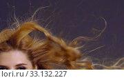 Купить «Slow motion of woman flying hair.», видеоролик № 33132227, снято 29 декабря 2019 г. (c) Gennadiy Poznyakov / Фотобанк Лори