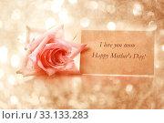 Купить «Mothers day message card with rose», фото № 33133283, снято 20 февраля 2020 г. (c) PantherMedia / Фотобанк Лори