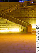Marble staircase with night lighting in the park. Стоковое фото, фотограф Евгений Ткачёв / Фотобанк Лори