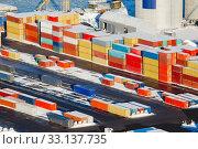 Купить «Heavy containers in a dock», фото № 33137735, снято 26 мая 2020 г. (c) PantherMedia / Фотобанк Лори