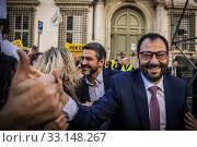 Riccardo Fraccaro and Stefano Patuanelli of 5 Star Movement with supporters during the rally of 5 Star Movement to defend a recent law that cut parliamentary pensions in Rome, ITALY-15-02-2020. Редакционное фото, фотограф Alessandro Serrano' / AGF/Alessandro Serrano' / / age Fotostock / Фотобанк Лори