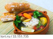 Fisherman's hoosh cooked with alaska pollock, corn and lemon. Стоковое фото, фотограф Яков Филимонов / Фотобанк Лори