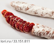 Close-up of spiced spanish fuet sausages at white background. Стоковое фото, фотограф Яков Филимонов / Фотобанк Лори