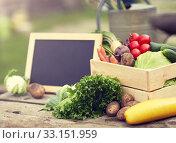 Купить «close up of vegetables with chalkboard on farm», фото № 33151959, снято 25 августа 2016 г. (c) Syda Productions / Фотобанк Лори