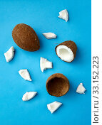 whole and cracked coconut on blue background. Стоковое фото, фотограф Syda Productions / Фотобанк Лори