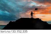 Купить «silhouette of businessman with flag on mountain», фото № 33152335, снято 18 февраля 2020 г. (c) Syda Productions / Фотобанк Лори