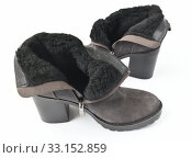 The Gray women boots warmed by a wool. Стоковое фото, фотограф Володина Ольга / Фотобанк Лори