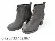 The Gray women boots on white background. Стоковое фото, фотограф Володина Ольга / Фотобанк Лори