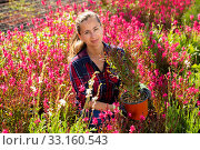 Florist woman working with blooming plants. Стоковое фото, фотограф Яков Филимонов / Фотобанк Лори