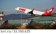 Купить «Boeing of TAM Airlines Brasil taking off from El Prat Airport», фото № 33160635, снято 2 февраля 2020 г. (c) Яков Филимонов / Фотобанк Лори