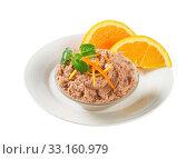 Купить «Meat spread with orange», фото № 33160979, снято 1 апреля 2020 г. (c) PantherMedia / Фотобанк Лори