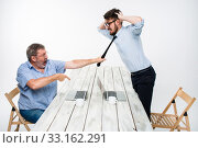 Купить «Business conflict. The two men expressing negativity while one man grabbing the necktie of her opponent», фото № 33162291, снято 3 июля 2020 г. (c) PantherMedia / Фотобанк Лори