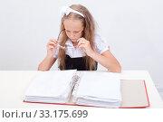 Купить «Schoolgirl with folder», фото № 33175699, снято 26 мая 2020 г. (c) PantherMedia / Фотобанк Лори