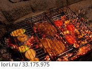Spicy ingredients for barbecue in grill grate. Стоковое фото, фотограф Гурьянов Андрей / Фотобанк Лори