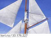 Купить «Mast and sails of sailing boat», фото № 33176227, снято 27 мая 2020 г. (c) PantherMedia / Фотобанк Лори
