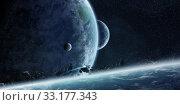 Купить «Sunrise over planet Earth in space», фото № 33177343, снято 10 июля 2020 г. (c) PantherMedia / Фотобанк Лори