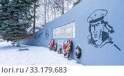 Купить «View of the war memorial in Pravdinsk, Balakhna in the Nizhny Novgorod region», фото № 33179683, снято 5 января 2020 г. (c) Дмитрий Тищенко / Фотобанк Лори
