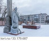 Купить «Military monument and eternal flame in Balakhna in the Nizhny Novgorod region», фото № 33179687, снято 5 января 2020 г. (c) Дмитрий Тищенко / Фотобанк Лори