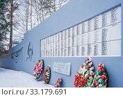Купить «Lists of those killed at the war memorial in Pravdinsk, Balakhna in the Nizhny Novgorod region», фото № 33179691, снято 5 января 2020 г. (c) Дмитрий Тищенко / Фотобанк Лори