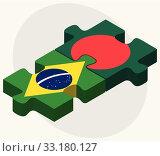 Brazil and Bangladesh Flags. Стоковая иллюстрация, иллюстратор Benguhan Ipekoz / PantherMedia / Фотобанк Лори