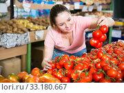 Купить «customer looking for fresh tomatoes», фото № 33180667, снято 14 октября 2017 г. (c) Яков Филимонов / Фотобанк Лори