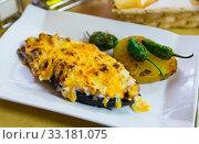 Купить «Stuffed with meat tasty eggplant baked with bechamel sauce», фото № 33181075, снято 26 февраля 2020 г. (c) Яков Филимонов / Фотобанк Лори