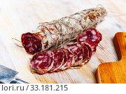 Spicy Salami sausage. Стоковое фото, фотограф Яков Филимонов / Фотобанк Лори