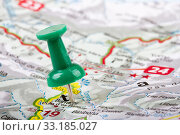 thumbtack in a map. travel destinations. Стоковое фото, фотограф Ronalds Stikans / PantherMedia / Фотобанк Лори