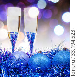 Купить «glasses, blue Xmass balls on blurry background 11», фото № 33194523, снято 10 июля 2020 г. (c) PantherMedia / Фотобанк Лори