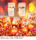 Купить «glasses, gold Xmass balls on blurry background 4», фото № 33194527, снято 10 июля 2020 г. (c) PantherMedia / Фотобанк Лори