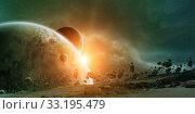 Купить «Sunrise over planet Earth in space», фото № 33195479, снято 16 июля 2020 г. (c) PantherMedia / Фотобанк Лори
