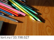 Купить «Color pencils on the desk», фото № 33198027, снято 26 мая 2020 г. (c) PantherMedia / Фотобанк Лори