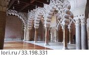 Interiors of medieval Islamic Aljaferia Palace in Zaragoza, Aragon, Spain. Стоковое видео, видеограф Яков Филимонов / Фотобанк Лори